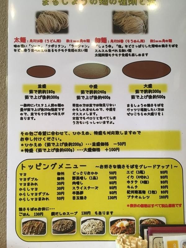 焼きそばのまるしょう 麺の種類・重量の解説表