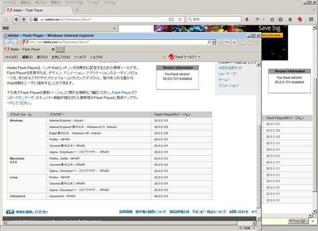 Adobe Flash Player 26.0.0.131 のテスト。