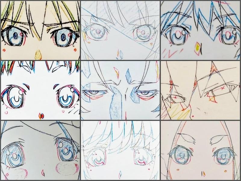物語シリーズのキャラの目を集めた画像