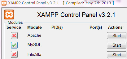 Module「MySQL」のインストール、緑のチェックマークにする