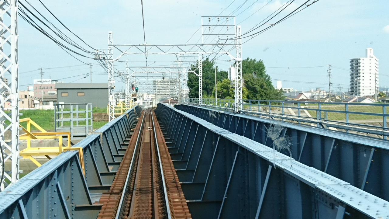 2017.7.19 布袋 (14) 犬山いき準急 - 庄内川鉄橋 1280-720