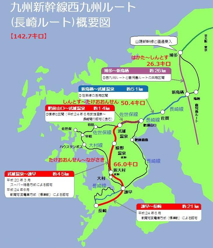 長崎新幹線の経路図