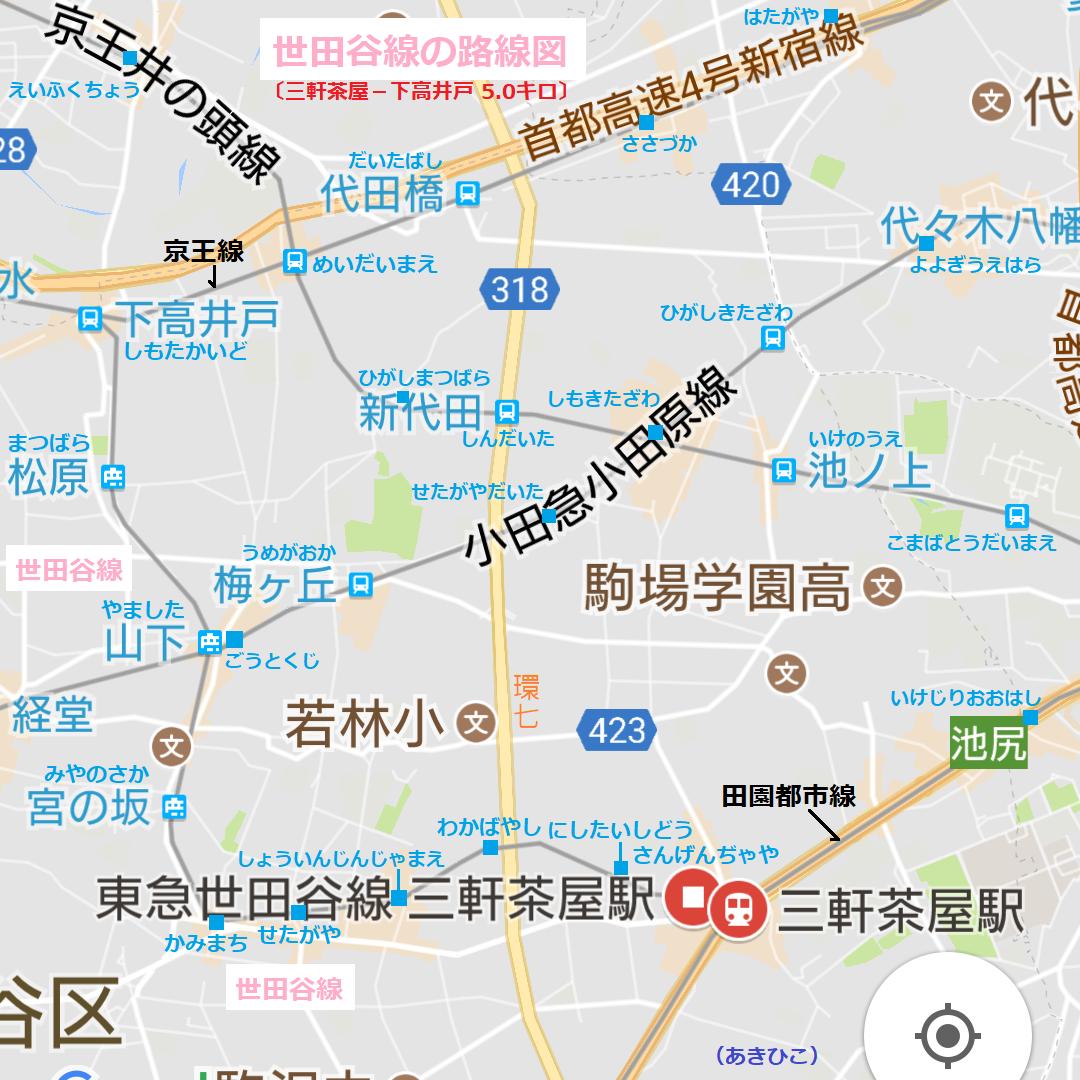 世田谷線の路線図(あきひこ) 1080-1080