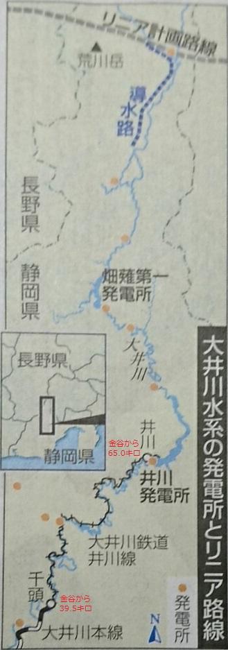 大井川水系の発電所とリニア路線(ちゅうにち 2017.12.2) 329-937