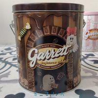 かわいいコラボ缶 ギャレットポップコーン×Q-pot1ガロン缶茶色