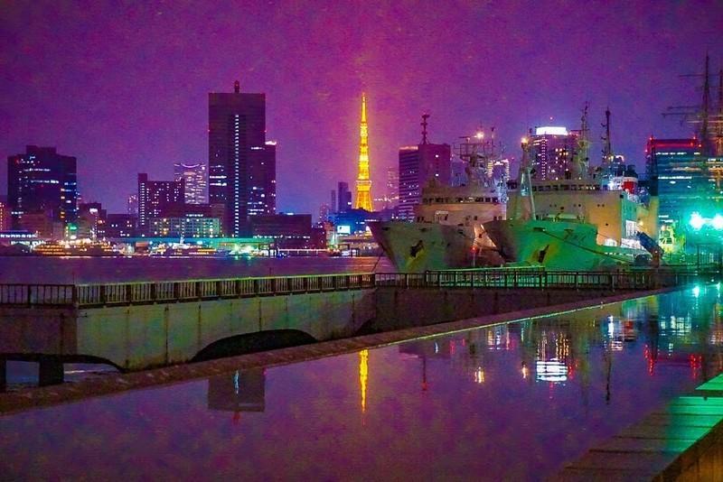 晴海埠頭公園から撮影した東京タワーの写真