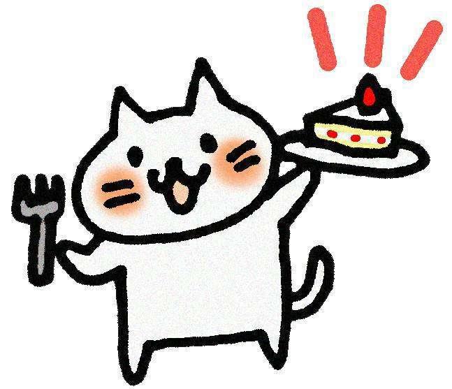 ケーキを持っている猫