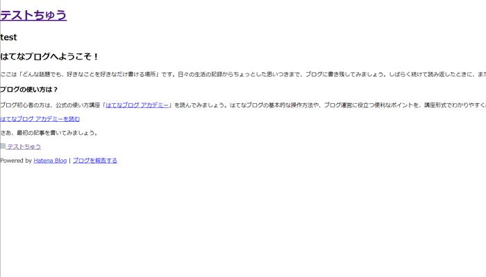 CSSを抜いたブログ画面