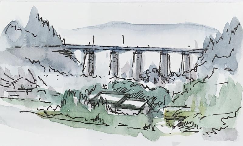 奈良室生口の水彩で風景を描く