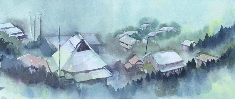 奈良の室生にて水彩で風景スケッチ