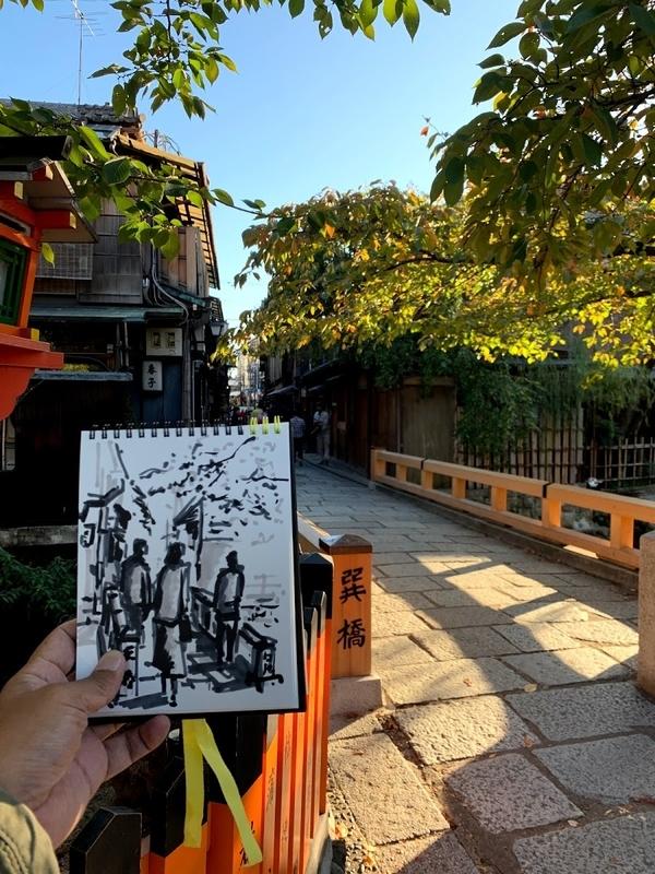 京都にて水彩で風景スケッチ