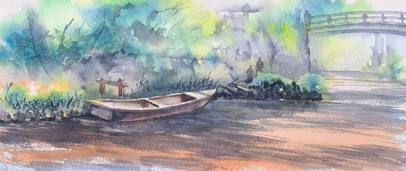 滋賀の近江八幡にて水彩で風景スケッチ