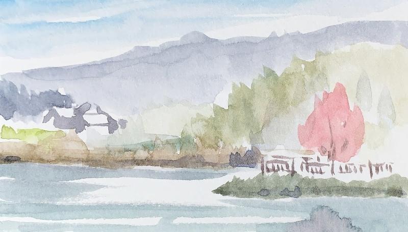 奈良の飛鳥にて風景を水彩でスケッチ