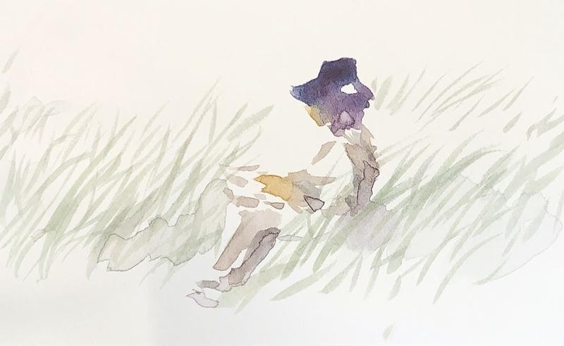 奈良でスケッチする友人の姿を水彩で描く