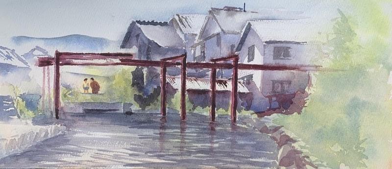 滋賀の堅田にて水彩で風景スケッチ