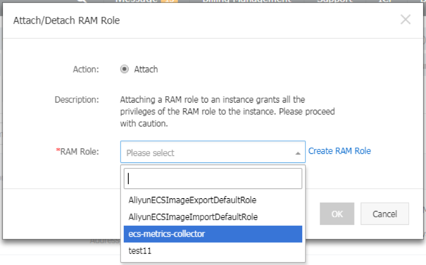 初めに作成した RAM サービスロールを選択