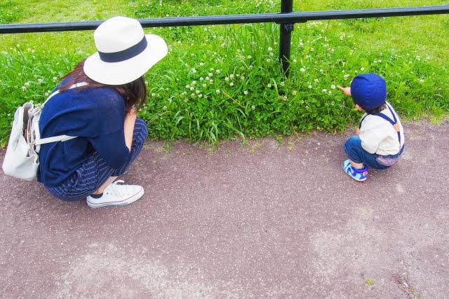 子供と母親がしゃがんで草花を観察している画像