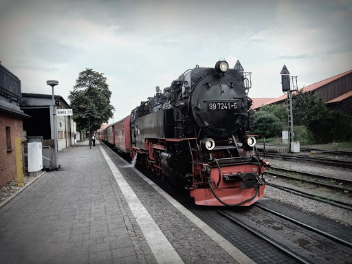 Wernigerode駅のハルツ鉄道蒸気機関車