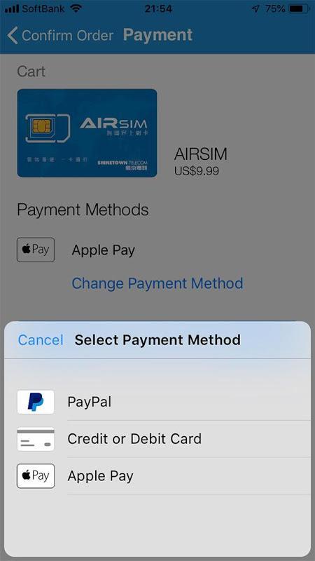 AIRSIM支払方法