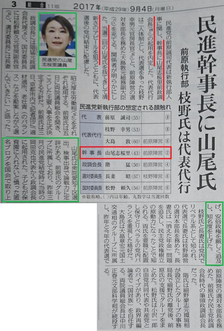 ちゅうにち 2017.9.4 (3) 民進党幹事長に山尾志桜里さん 860-1270
