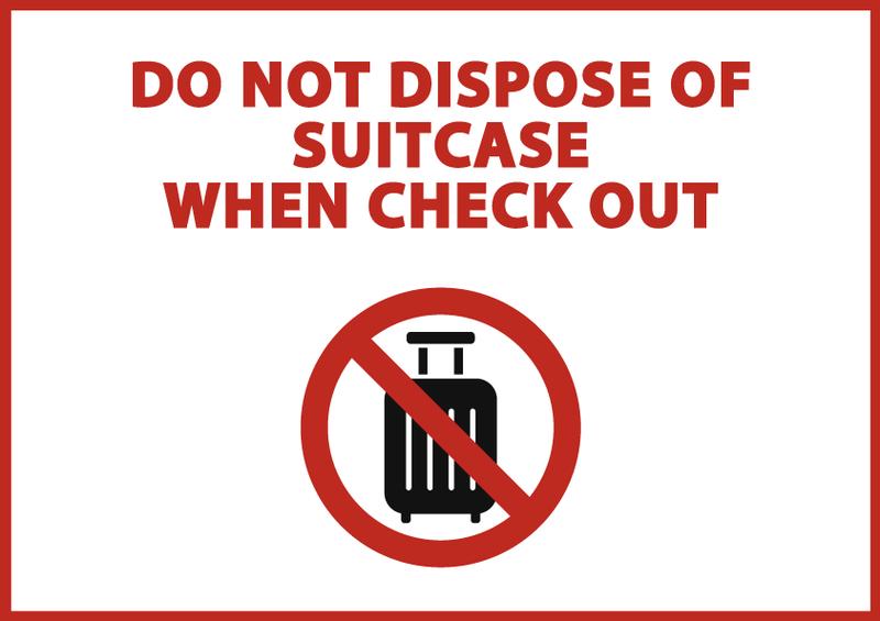 スーツケース廃棄禁止 英語