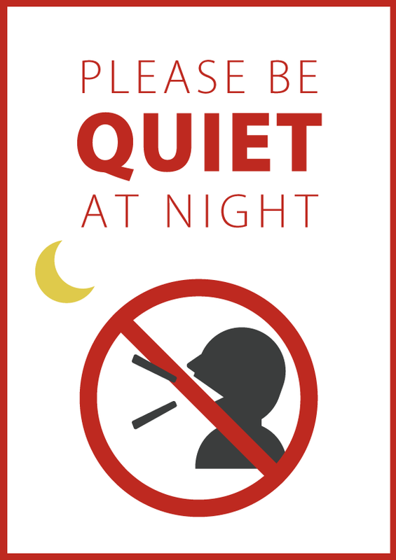 夜間はお静かにしてください 英語